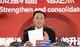 茅台集团党委书记、董事长李保芳在大会上发言。