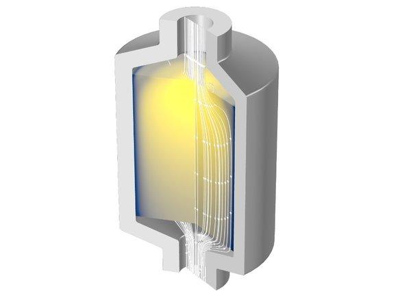 使用多孔介质流模块进行的相变材料填充床潜热储罐仿真。