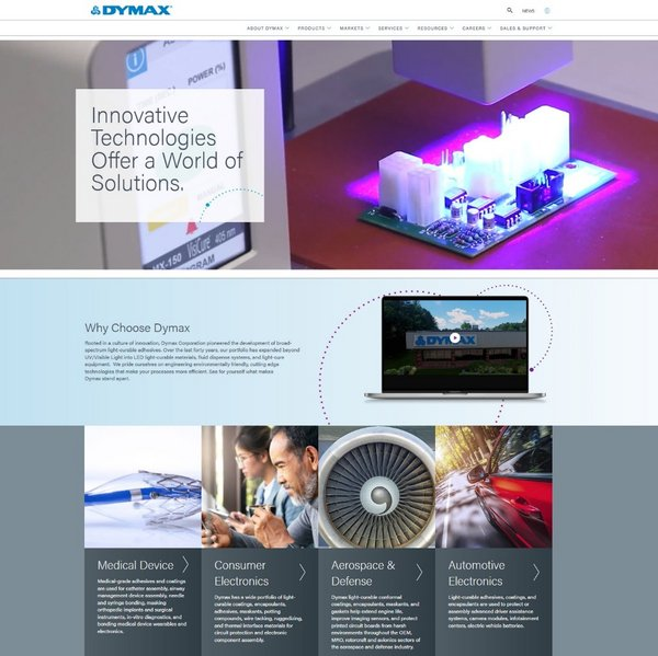 Dymax Website Home Page