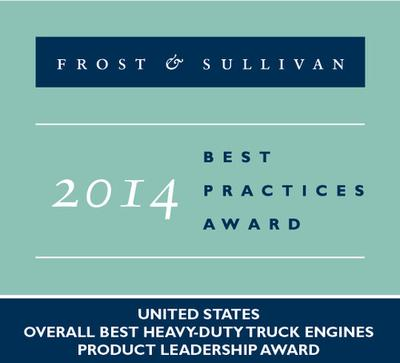 Frost & Sullivan Presents its 2014 United States Overall Best Heavy-Duty Truck Engines Award to Cummins