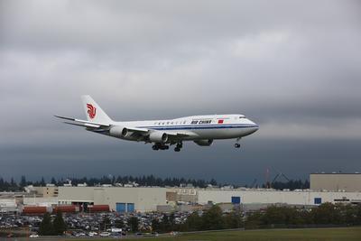 國航波音747-8在西雅圖成功進行本場訓練(攝影:王澤民、陳誠)