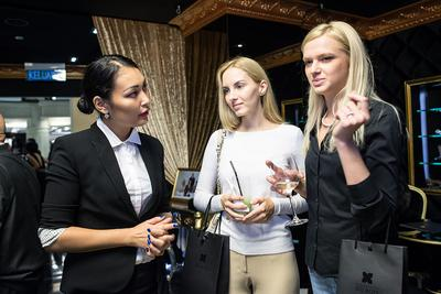 Olga and her guest being guided through the Fragrance Du Bois flagship boutique