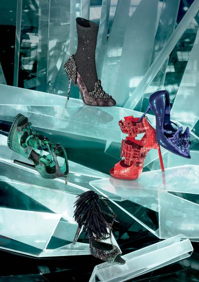 Jimmy Choo Limited Edition:  (From top to bottom): Marble Leather Pumps with Hotfix; Patent Pumps with Embroidery and Stones; Shiny Elaphe Sandal With Crystals; Karung Ayers Sandal with Stones; Hotfix Sandal with Printed Leather Organza (HK$43,000 each)
