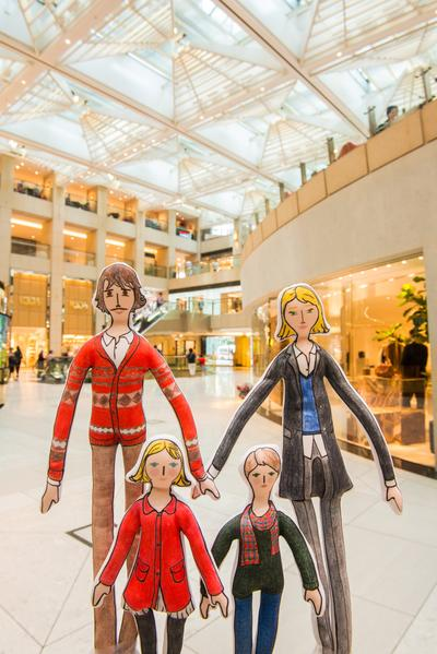 The stylish French figurine family - mother, Flora; father, Vincent; and their children Lucas and Chloe went on a Gallic shopping spree at LANDMARK