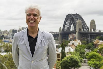 Talking Heads' David Bryne in Sydney today for Here Lies Love announcement. Photo credit: Brett Hemmings; Destination NSW