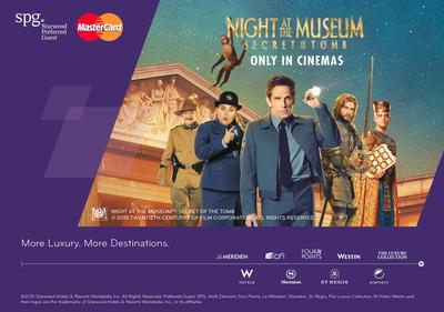 SPG and MasterCard bring travelers closer to their next adventure with the latest Fox Movie release, NIGHT AT THE MUSEUM(TM): SECRET OF THE TOMB