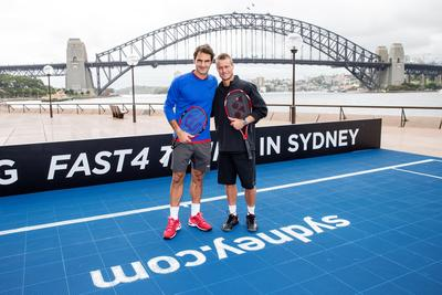 Roger Federer and Lleyton Hewitt challenge each other to FAST4 TENNIS in Sydney. Destination NSW_James Horan