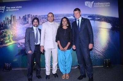 NSW Premier Mike Baird addresses a tourism audience at a lunch event in Mumbai, India. (L-R Destination NSW Country Manager for India Paramjit Bawa, UnIndian director Anupam Sharma, UnIndian lead Tannishtha Chatterjee and the NSW Premier The Hon. Mike Baird.)