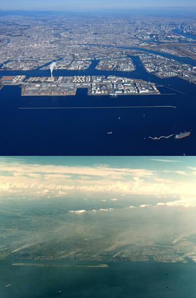 Birdview of Kawasaki in 2012 (above) and in 1960s (below)