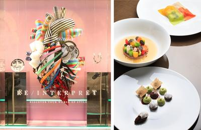 Art-themed window display and menu of Lane Crawford and French fine dining restaurant EPURE