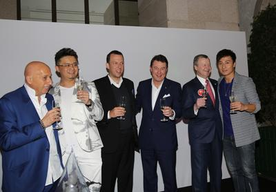 "Allan Zeman, Simon Ma (artist), Jonathan Zeman, Ian Brewis (General Manager of Lanson Place Hotel, Hong Kong), Winfried Engelbrecht-Bresges and Alex Fong attended the opening reception of ""Ink-Brush-Heart - The La Biennale di Venezia World Tour"" by Simon Ma"