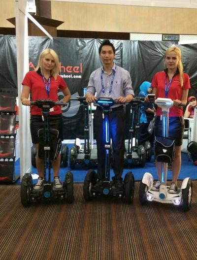 Airwheel's intelligent scooters in the exhibition