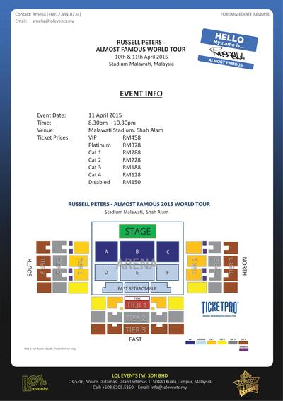 Seat Layout & Price for the Russell Peters Almost Famous World Tour 2015 in Malaysia