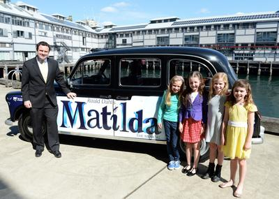 Matilda's announced in Sydney - Minister for Trade, Tourism and Major Events Stuart Ayres and Matilda's from left to right - Georgia Taplin, Bella Thomas, Sasha Rose and Molly Barwick. Credit James Morgan, Destination NSW, Matilda The Musical.