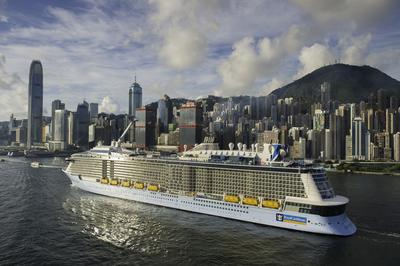 Royal Caribbean's Quantum of the Seas is the largest ship to ever appear in Hong Kong waters.