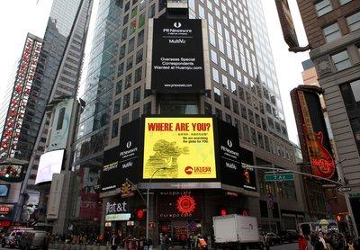 环球网登陆纽约时代广场  全球招募海外特约记者