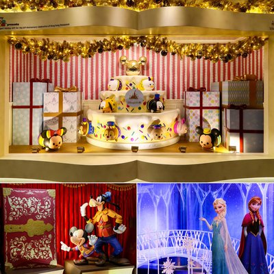 """Mickey and the Wondrous Book"" , TSUM TSUM ""The Biggest Holiday Gift"" and ""A Frozen Christmas"" Disney Holiday Windows are displayed in the Avenue."