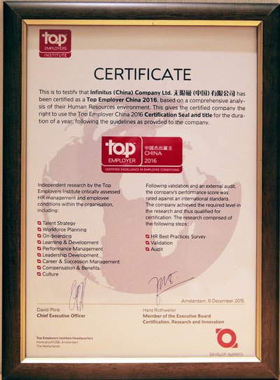 Infinitus (China) Certified as Top Employer China 2016