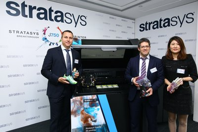 Stratasys Asia Pacific today unveiled J750 3D printer, world's first full-color multi-material 3D printer in Hong Kong. (From left to right: Fred Fischer, Channel Development and Field Operations Director, Stratasys Asia Pacific & Japan; Omer Krieger, General Manager, Stratasys Asia Pacific & Japan; Lucy Zhai, General Manager, Stratasys Greater China)