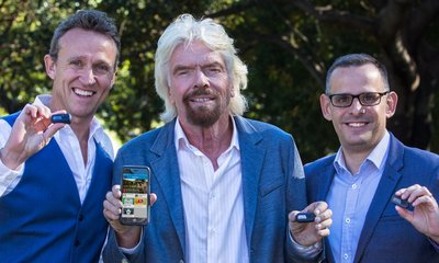 Glenn Riseley, GCC Founder and President (left), Sir Richard Branson (middle) and Tom Sermon, GCC CEO (right).