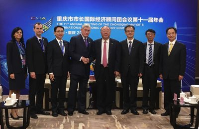 Group pictures among Chongqing Mayor Huang Qifan, Dr. Hannes Androsch,Chairman of Supervisory Board of AT&S Group; Phua Chen Jiang, AT&S BU MS CEO and Peter Griehsnig, AT&S BU MS COO