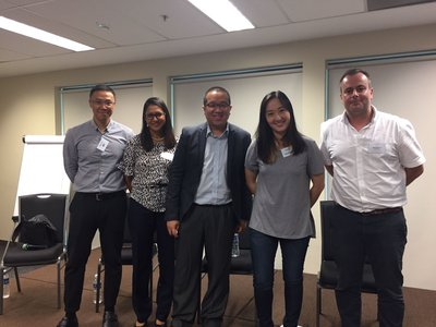 From left to right: Adrian Tay, Verdayne Nunis, Nicholas Leong, Victoria Ho and Richard Moylan