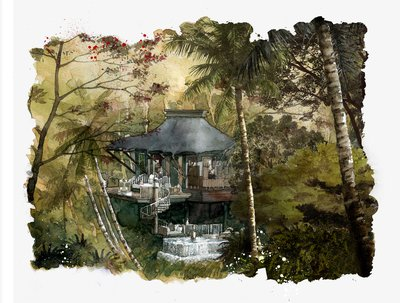 Capella Ubud - water color of the luxury tented retreat