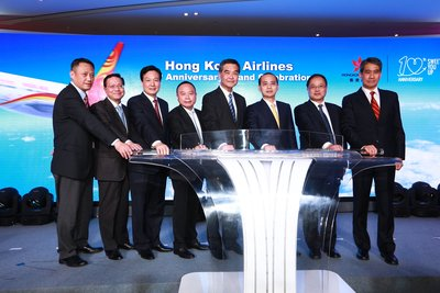 Mr. Wang Liya, Professor Anthony Cheung, Mr. Lin Wu, Mr. Mung Kin Keung, Mr. C Y Leung, Mr. Zhang Kui, Mr. Hu Jianzhong, Mr. Tang King Shing hosted the Take-off ceremony of Hong Kong Airlines 10th Anniversary Grand Celebration.