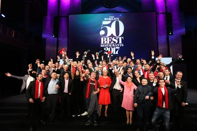 The winning chefs and restaurateurs celebrate at The World's 50 Best Restaurants awards ceremony at the Royal Exhibition Building, Melbourne.