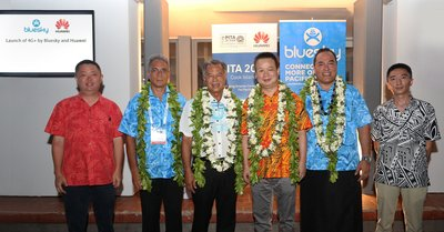 The Prime Minister of Cook Islands officiating the launch of Bluesky-Huawei 4.5G LTE-Advanced network solution with key representatives from both organisations (From left to right: Dennis Hou - CEO of Huawei Pacific Islands, Phillip Henderson - Country Manager of Bluesky Cook Islands, Henry Puna - Prime Minister of Cook Islands, David Wei – President of Huawei Southern Pacific, Toleafoa Douglas Creevey - CEO of Bluesky Group, and Jack Xu - CEO of Huawei Fiji)