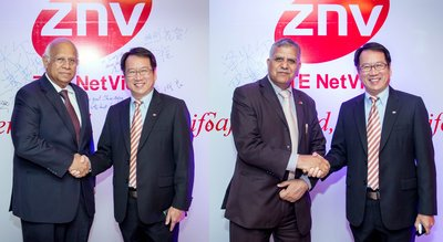ZNV Executive Chairman & CEO Robert Zhu and President of Pakistan's Largest Securty Company PATHFINDER (on the left);ZNV Executive Chairman &CEO Robert Zhu and Counsellor Mr. Zamir Awan of Embassy of Pakistan (on the right)