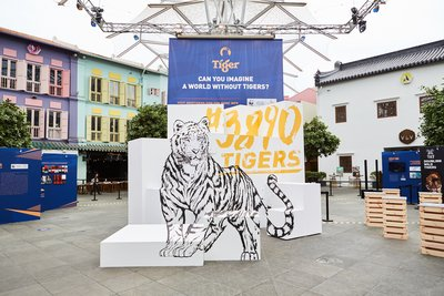 The 3890 Tigers campaign kicks off in Singapore with a public exhibition to heighten awareness towards the illegal tiger trade photo credit: Tiger Beer