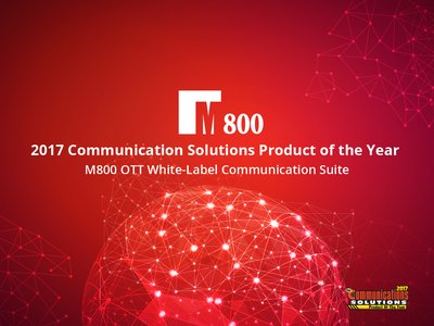 M800 OTT White-Label Communication Suite is named winner of the 2017 Communications Solutions Product of the Year by TMC