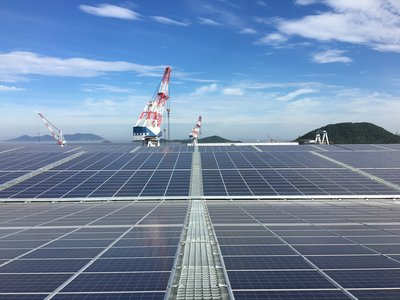 The world's largest shipyard solar station, in Zhoushan