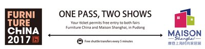 Free visiting the two fairs - Maison Shanghai and Furniture China - with one ticket