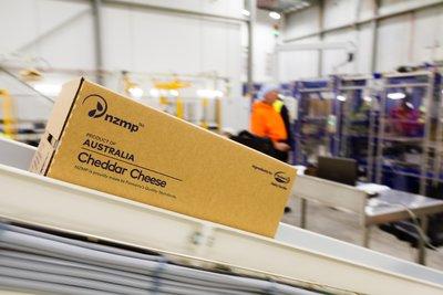 恒天然奶酪产品在生产线上