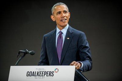 """当地时间9月20日,美国前总统奥巴马在盖茨基金会主办的首届""""目标守卫者""""论坛发表演讲"""