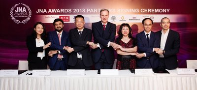 Pictured from left: Zhao Chunxiao, CEO of Guangdong Land Holdings Limited; Sanjay Kothari, Vice Chairman of KGK Group; Lin Qiang, President and Managing Director of the Shanghai Diamond Exchange; Wolfram Diener, Senior Vice President of UBM Asia; Letitia Chow, Chairperson of the JNA Awards, Founder of JNA and Director of Business Development - Jewellery Group at UBM Asia; Kent Wong, Managing Director of Chow Tai Fook Jewellery Group Ltd; and Jim Li, General Manager of Guangdong Gems & Jade Exchange