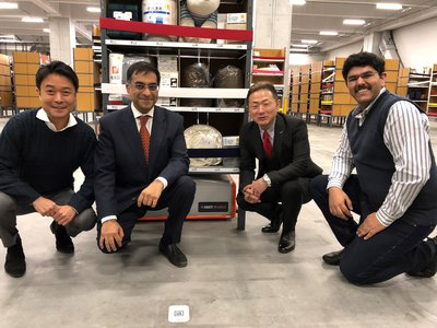 Hiratomo Miyata, CEO of GROUND Inc., Nalin Advani, CEO - APAC, GreyOrange, Manabu Matsuura, CEO of Home Logistics and Samay Kohli, Group CEO of GreyOrange at the launch of the latest warehouse of the Nitori Holdings Group