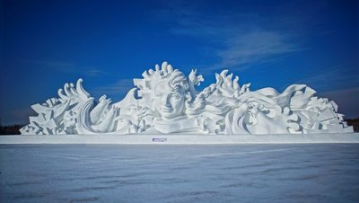 The main sculpture, called A Long Song, of the 29th Haerbin Sun Island Snow Sculpture Art Expo