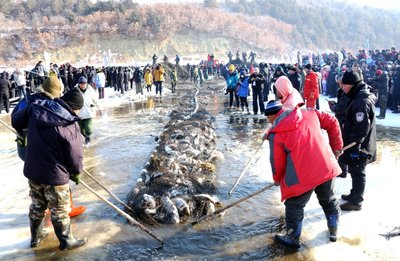 Winter fishing activity on the Jingpo Lake