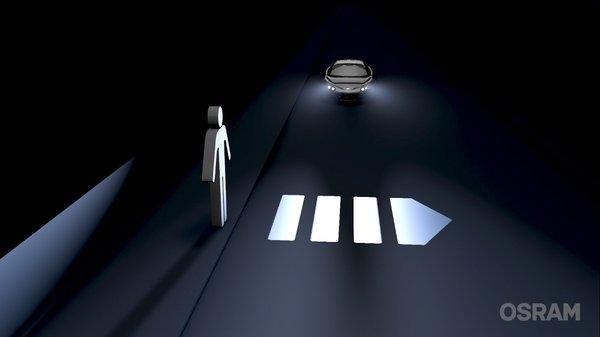 欧司朗DMD 技术车头灯可投射街道上的标志和信号,如人行道或警告标志。