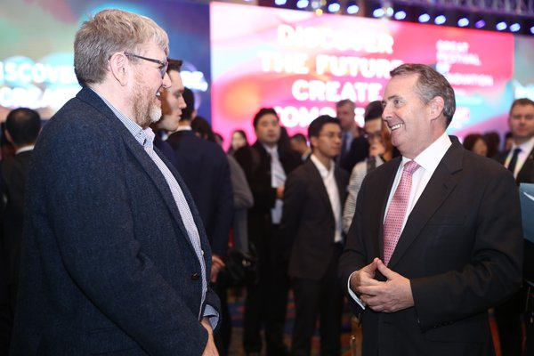 Co-Founder & COO of Sublime Chris Bryson (UK technology company with China operations) with UK International Trade Secretary Liam Fox (Credit: GREAT Festival of Innovation 2018)