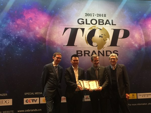 Zhang Shaoyong (second from left), General Manager of Product Center, TCL Multimedia, accepted several awards on TCL's behalf, including Global Top 50 CE Brands, at IDG's Global Top Brands Award Ceremony during CES 2018