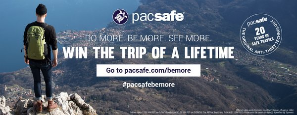 Pacsafe launches its #PacsafeBeMore competition, encouraging fans do more, see more and be more in every adventure