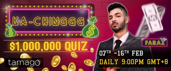 Answer all 12 questions correctly and win a share of RM1,000,000! Only on Tamago for iOS and Android, from 7 - 16 Feb, 9PM (GMT+8) nightly. http://www.tamago.live