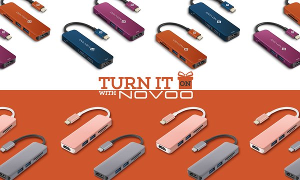 Vibrant New Colors of NOVOO 5-in-1 USB C Hub