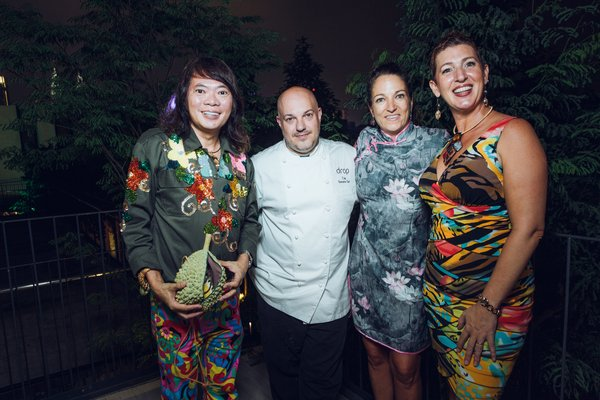Modern American restaurant, Drop KL Soft Launch officiated by President of the American Association of Malaysia - Jill Nanne (far right) and Drop KL General Manager and Certified Sommelier - Alison Christ (second from right) in the company of Mercedes-Benz Stylo AsiaFashionFestival Most Creative Social Media Influencer 2017 Dato' Kee Hua Chee (far left) and Tim Jay or Chef TJay - Drop KL Executive Chef (second from left).