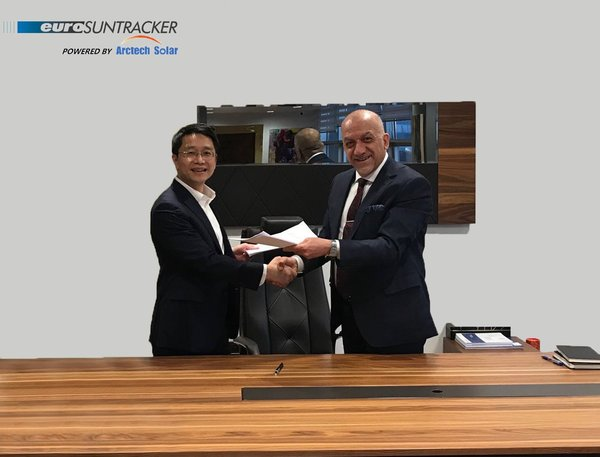Guy Rong (President of Arctech Solar's international business) and Behic Harmanli (President of Europower)