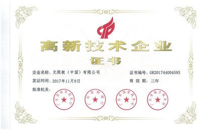 Infinitus (China) Re-Accredited as a National High-Tech Enterprise of China for the Fourth Time